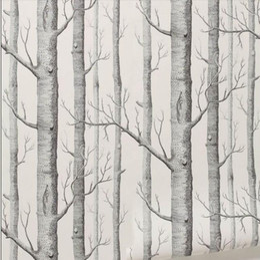 Birch Tree pattern non-woven woods wallpaper roll modern designer wallcovering simple black and white wallpaper for living room