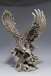 Wholesale Collectible Decorated Old Handwork Tibet Silver Carve Eagle Dapeng wing Statue