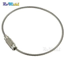 10pcs lot Stainless Steel Wire Keychain Cable Key Ring for Outdoor Hiking