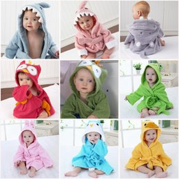 Wholesale Winter Hooded Baby Bath Robes Cotton Baby Boy Bath Robe Cartoon Shark Owl Head Infant Bath Towels Kids Keep Warm Bathing Towels