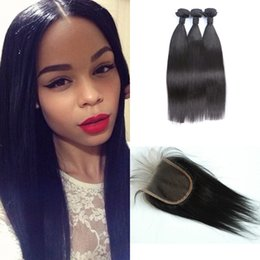 Lace Closure With Brazilian Hair Bundles Straight Remy Human Hair Weaves Unprocessed Virgin Hair Extension G-EASY