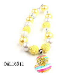 Wholesale 5Pcs Chunky Bubblegum Necklace Kits Beads Necklace Little Girls Best Gift Cute Cartoon Rhinestone Pendant Beaded Necklace