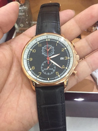2016 new Christmas Gift Luxury New quartz chronograph Silver & Gold Dial black strap Mens Watch Modern wristwatch