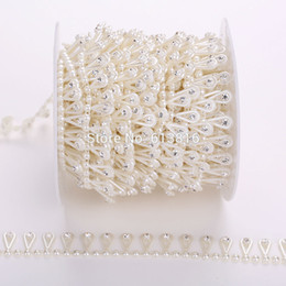 10yards 17mm Ivory Pearl Rhinestone Chain Trims Sewing Crafts Costume Applique