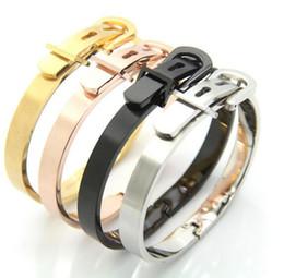 New Gift Four Color Choose Yourself Adjustable Length Cuff Bangle High Polished Stainless Steel Nice Belt buckle design Bracelet