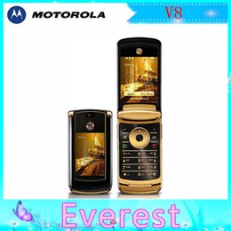 Wholesale Hot sale Original Luxury Motorola V8 GB MB refurbished unlocked GSM G P MP Camera Flip Mobile phone