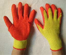 Non-slip Labor Protection Working Glove Palm Dipped Latex Glove Knitted Cuff Security Wrinkle Finish Protective Gloves