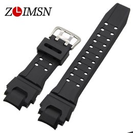 ZLIMSN Watchbands Mens Rubber Sport Black Silicone Diving Watch Strap Steel Buckle For Casio Driving Watch Relogio Masculino