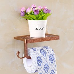 Wholesale Best Quality Roll Paper Tissue Holder Brass Rack Mobile Phone Rack Bathroom Toilet Paper Wall Mount