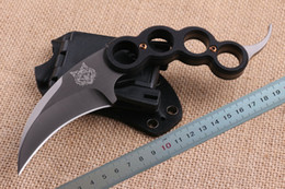 Wholesale Free DHL Tiger Head Karambit CR18MOV Titanium blade steel G10 Handle Knuckle Claw knife Fixed blade knives with ABS K Sheath