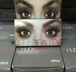 Wholesale Long Human Hair Eyelashes - 2016 Huda Beauty False Eyelashes hair handmade Messy Cross Fake Eye Lashes Professional Makeup False Lashes 12 style DHL