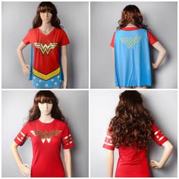 Wholesale Wonder Woman Women Caped V Neck Cosplay Costume short sleeved T Shirt Cloak Size S M L XL XL