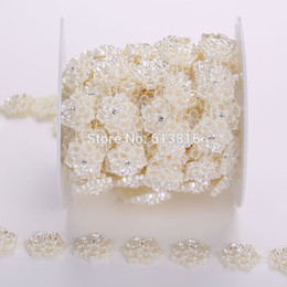 20mm 5yards Sewing Accessories Ivory Half Pearl Flower Flatback Pearls Sew On Beads For Clothes Bags Decoration DIY