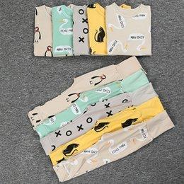 Wholesale Baby Boys Girls Pajamas Sets Kids Nightgowns Sleepwear Bttomos Tops Cotton Bape Leggings Piece Suit Cartoon Homewear Clothing free ship