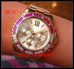 Wholesale TOP QUALITY BEST PRICE Newest Womens Watch Chronograph Rose Gold Blue Everest MK5754 MK5755 MK5871