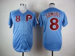 Wholesale Juan Samuel Jersey Cheap Philadelphia Phillies Juan Samuel Blue Throwback Baseball Jersey High Quality Stitched Jerseys Embroidery Logo