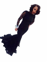 2016 Sexy Black Lace Prom Dresses with Long Sleeves Beautiful Jewel Neck See Through Woman Evening Gowns Custom Made