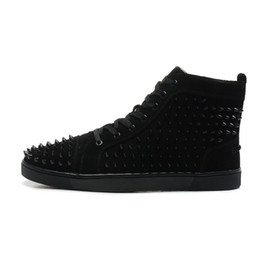Wholesale with box New Design Men Women High Top Black Sheep Skin with Black Spikes Lace Up Red Bottom Sneakers Couples Brand Casual Shoes