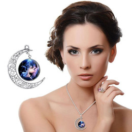 Wholesale 2016 New Pattern Moon Time Jewel Necklace Foreign Trade Heat Sell Angel Glass Pendeloque Cut Pendant