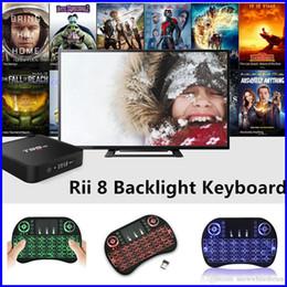 Teclado para juegos de luz de fondo azul en venta-Ratón Aire Rii I8 mini radio de retroiluminación del teclado colorido verde rojo azul claro del juego del USB 2.4G con el Touchpad Para MXQ X96 MXQ PRO TV BOX