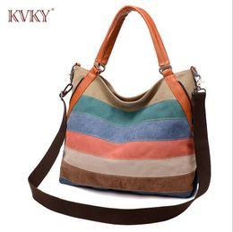 The new 2016 han edition canvas handbag color stripe style banquet bump retro large-capacity single shoulder bag