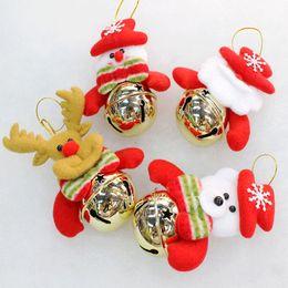 Wholesale 10cm Christmas Decorations Santa Claus Snowman Deer Bear Dolls Bells Design Xmas Tree Ornaments Hangings Props Gifts Drop Shipping SD028