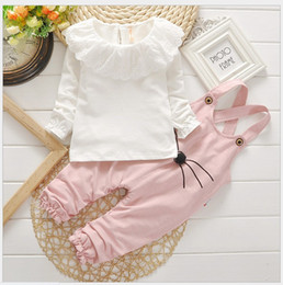 Lovely Girl Autumn Clothing Sets Children White Long Sleeve T-shirt Tops+Cartoon Suspender Pants 2pcs Set Kids Suits Baby Girls Outfits