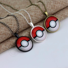 Wholesale Fashion Anime Poke Pendant Necklace Vintage Retro Time Gemstone Ball Pendant Necklace Dome Cabochon Round Pendant Jewelry Gifts QQA305