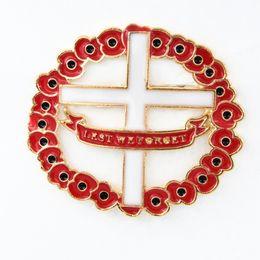 Gold Plated UK Fashion Ruby Red Enamel Cross Shapes Poppy Flower Wreath Brooch The British Royal Legion Poppy Brooch Pins Badge Hot Selling