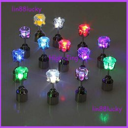 Wholesale LED Flash Earrings Stud Hipster Novel Creative Personality Love Stud Light Up Led Stainless Steel Earrings Studs Glow Earrings Dance Party