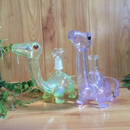 Wholesale USA Colored dinosaur Glass Oil rigs glass bongs dab rigs smoking pipes water pipes with slitted cuts