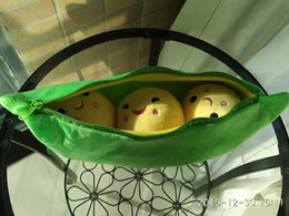 Wholesale cm quot Super Cute Peas Stuffed Plush Soft Doll Peas in a Pod Pea Toy for baby gift