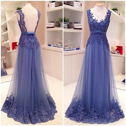 Prom Dresses 2016 New Sexy V Neck Evening Dress Wear Lavender Chiffon Long Lace Appliques Beaded Backless Tulle Formal Plus Size Party Gowns