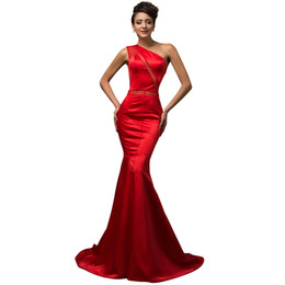 Sexy Red Mermaid long prom dresses 2019 formal party dress Cheap Long One shoulder Special Occasion Evening Dresses Custom Made Cheap
