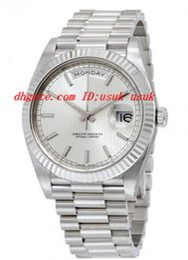 Descuento esfera blanca para hombre de los relojes automáticos Inicio de lujo relojes de calidad DayDate 40 Dial de plata Presidente oro blanco de 18 quilates hombres automáticos del reloj de 40 mm del reloj para hombre relojes de pulsera