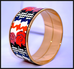 Rose Series Series 18K gold-plated enamel bangle bracelet for woman Top quality bracelets bangles width 30mm Fashion designer jewelry
