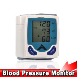 Wholesale-2016 Home Digital LCD Arm Wrist Blood Pressure Monitor Sphygmomanometer Automatic Electronic Heart Beat Rate Meter Pulse Tester