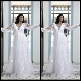 Beautiful Plus Size Wedding Gowns 2020 Ivory Beach Cheap V Neck Lace Bodice Empire Waist Flowing Chiffon Long Bridal Gowns with Long Sleeve