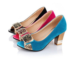 Fashion Women's Rhinestone Faux Suede Shoes Ladies' Peep Toes Mid Cuban Heel Sandals Pumps S099 US Size 4 -10.5
