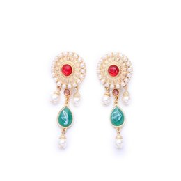 Wholesale 18k gold filled jewelry antique reproduction jewelry Random Pattern Pearl Earrings Jewelry making supplies china