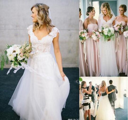 Bohemian Hippie-Style Wedding Dresses for UK Full Lace Sale Design with Long Skirts Cheap Boho Chic Beach Country Bridal Gowns MZ