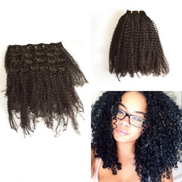 new arrival Brazilian virgin afro kinky curly hair weft clip in kinky curly natural color human extensions G-EASY