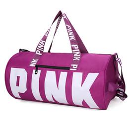 New Women Fashion Sexy Love Pink Handbags Barrel-Shaped Large Capacity Travel Duffle Striped Waterproof Beach Bag Shoulder Bag