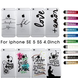 Black Text Design Transparent Hard Plastic Case Cover For Apple Iphone SE 5 5S Fashion Cell Phone Cases+ Touch Pen