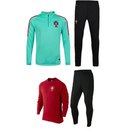 NEW 2016 soccer training suit jacket skinny pants 2016 Portugal soccer tracksuit trousers football shirt