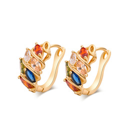 New Arrivals Fashion Jewelry 18K Yellow Gold Plated Multi Color Cubic Zirconia CZ Retro Hoop Earrings for Women