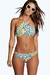 MOXIAN The new 2016 split bikini female swimsuit models vest printing Small fresh high elastic halter sexy bikini Geometric stripes S-L 0332