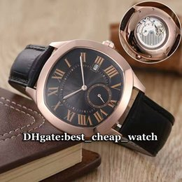 Wholesale Cheap Luxury Brand Watch New Drive De WGNM0004 Automatic Mechanical Rose Gold Black Dial Leather Strap Men s Watch High Quality Gent Watches