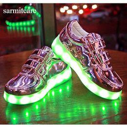 275 - Gold Silver Pink Kids LED Light USB Recharging Hook Shoes Colorful Fluorescent Light Lighting Shoes for Kids Children Casual Shoes