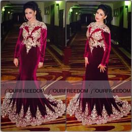 Luxury 2019 Burgundy long sleeve Muslim mermaid Evening Dresses Formal Dubai Kaftan velvet gowns Turkish Arabic style